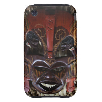 Ritual African Tribal Wooden Carved Mask Brown Red iPhone 3 Tough Cover