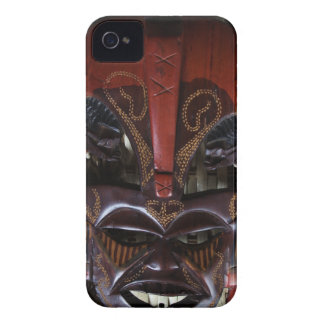 Ritual African Tribal Wooden Carved Mask Brown Red iPhone 4 Case
