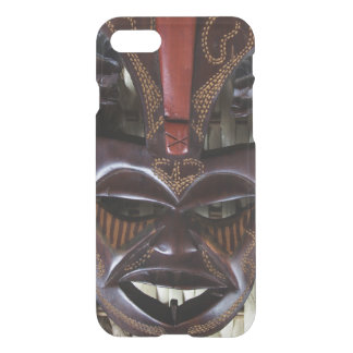 Ritual African Tribal Wooden Carved Mask Brown Red iPhone 8/7 Case