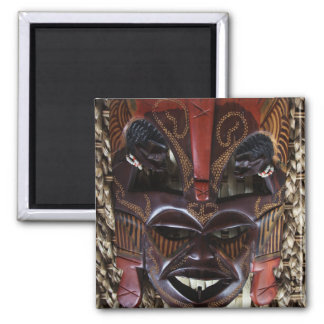 Ritual African Tribal Wooden Carved Mask Brown Red 2 Inch Square Magnet