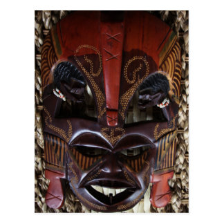 Ritual African Tribal Wooden Carved Mask Brown Red Postcard