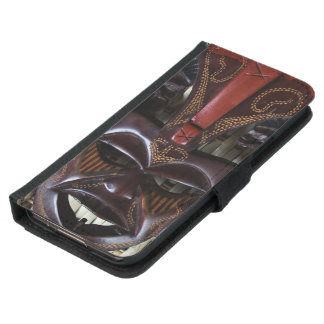 Ritual African Tribal Wooden Carved Mask Brown Red Wallet Phone Case For Samsung Galaxy S5