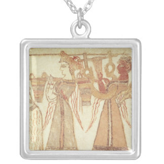 Ritual scene of worship silver plated necklace