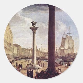 Riva Degli Schiavoni, con el palacio de los duxes Pegatina Redonda