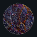 "Riven Dart Board<br><div class=""desc"">Riven means &quot;split or crack (wood or stone)&quot;.  This colorful abstract is embedded with deep blue hues with touches of bright colors. All nestled in bold cracks and gritty textures. A favorite among any abstract art enthusiasts. Makes an excellent gift too!</div>"