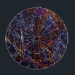 """Riven Dart Board<br><div class=""""desc"""">Riven means &quot;split or crack (wood or stone)&quot;.  This colorful abstract is embedded with deep blue hues with touches of bright colors. All nestled in bold cracks and gritty textures. A favorite among any abstract art enthusiasts. Makes an excellent gift too!</div>"""