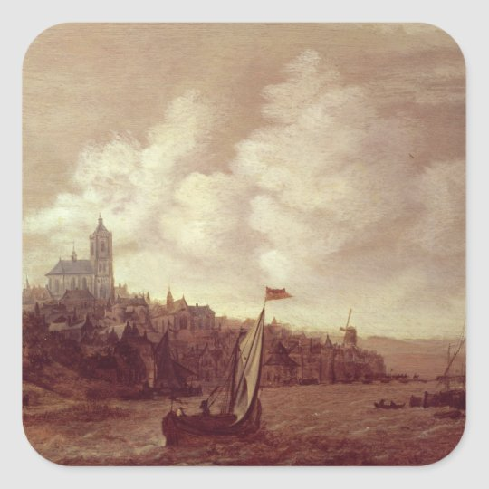 River and City Scene Square Sticker