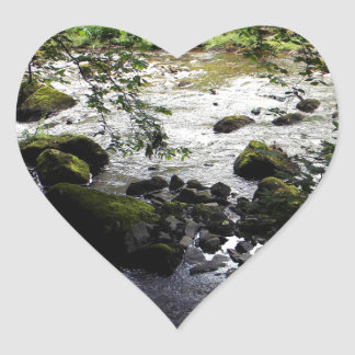 River and rocks Peace Photo Heart Sticker