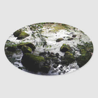 River and rocks Peace Photo Oval Sticker