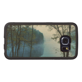 River and Woods Foggy Day photo Wood Phone Case