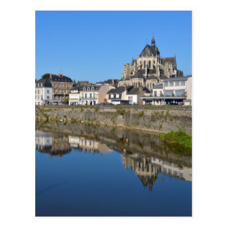 River at Mayenne in France Postcard