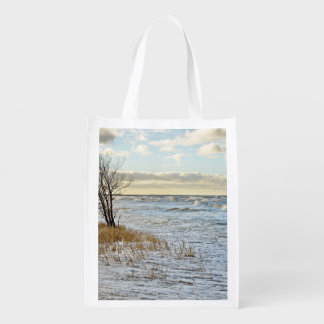 River Bank waith Dry tree Reusable Grocery Bag