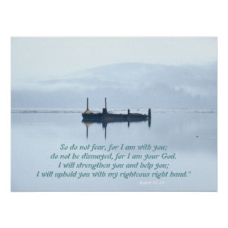 River Barge in Mist Isaiah 41:10 Print