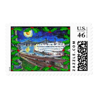 River Boat Christmas Postage Stamp stamp
