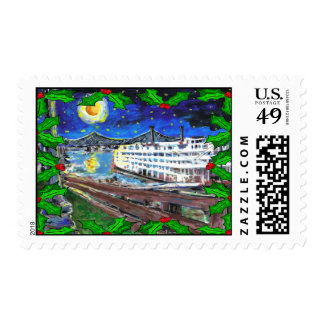 River Boat Christmas Postage Stamp