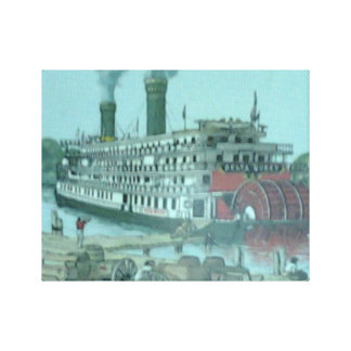 River Boat Wrapped Canvas