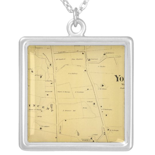 River Dale and Mt St Vincent Atlas Map Silver Plated Necklace