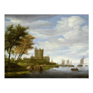 River Estuary with a castle Postcard
