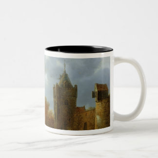 River estuary with a tower and fortified walls mugs
