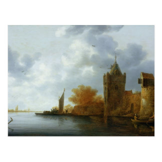 River estuary with a tower and fortified walls postcard