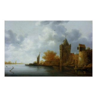 River estuary with a tower and fortified walls print
