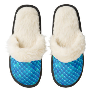 river fish scales pair of fuzzy slippers
