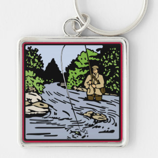 River Fishing Keychain