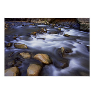 River flowing over rocks, Virgin River, Utah Poster