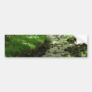 River flowing through woodland. bumper stickers