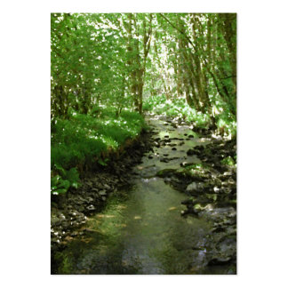 River flowing through woodland. business card template