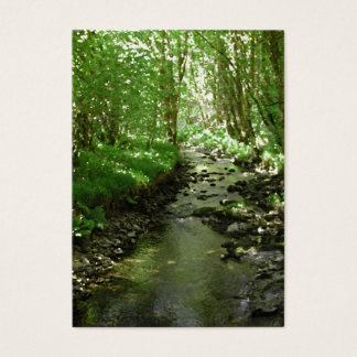 River flowing through woodland. business card