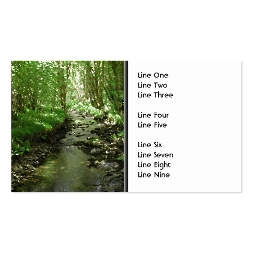 River flowing through woodland. business card templates