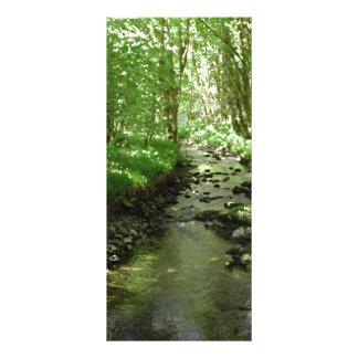 River flowing through woodland. rack card