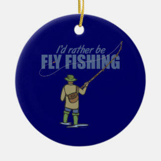 River Fly Fishing in Waders Ceramic Ornament
