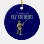 River Fly Fishing in Waders Ornaments