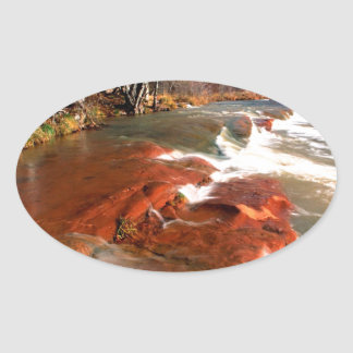River Formations Oak Oval Sticker