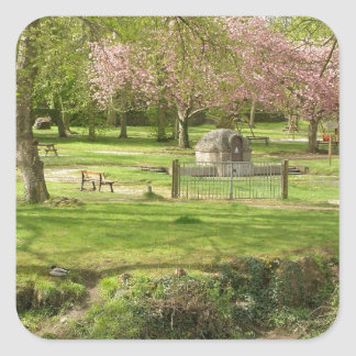 River front pink flowers of prunus in a park square sticker