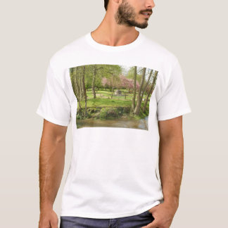 River front pink flowers of prunus in a park T-Shirt