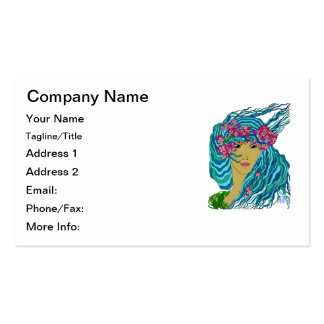 River Goddess with Flowing Watery Hair and Flowers Business Card