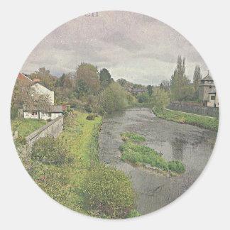 River Hafren in Newtown, Powys Classic Round Sticker