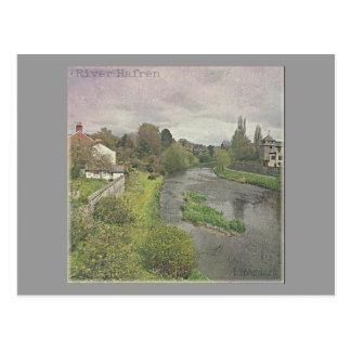 River Hafren in Newtown, Powys Postcard