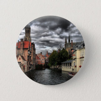 River in Bruges City, Belguim Button