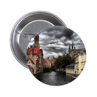 River in Bruges City, Belguim 2 Inch Round Button