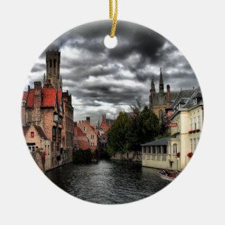 River in Bruges City, Belguim Ceramic Ornament