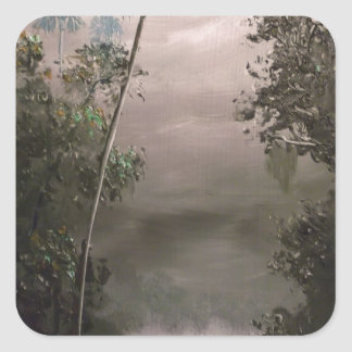 River in Mist Square Sticker