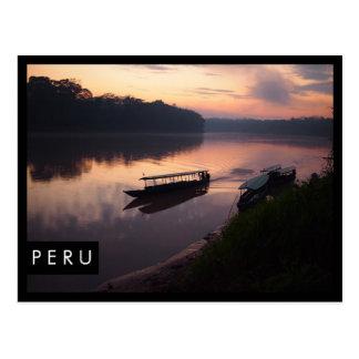 River in Peru rainforest black edge postcard