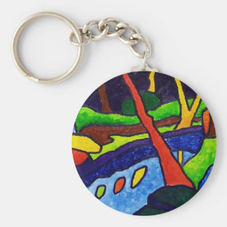 River in the Park Basic Round Button Keychain