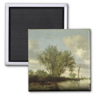 River Landscape, 1645 2 Inch Square Magnet