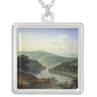 River Landscape, 1697 Square Pendant Necklace