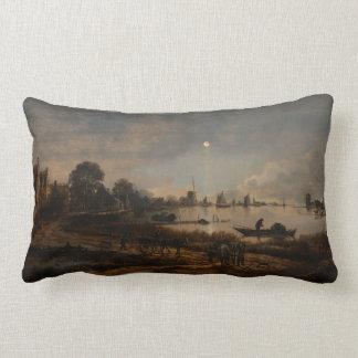 river landscape art Neer Lumbar Pillow